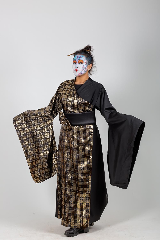 siyah-altın-ninja-kadın-kostumu