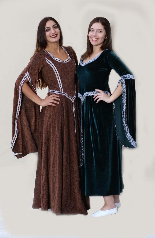 ortaçağ-kadife-kahve-kadın-kostum
